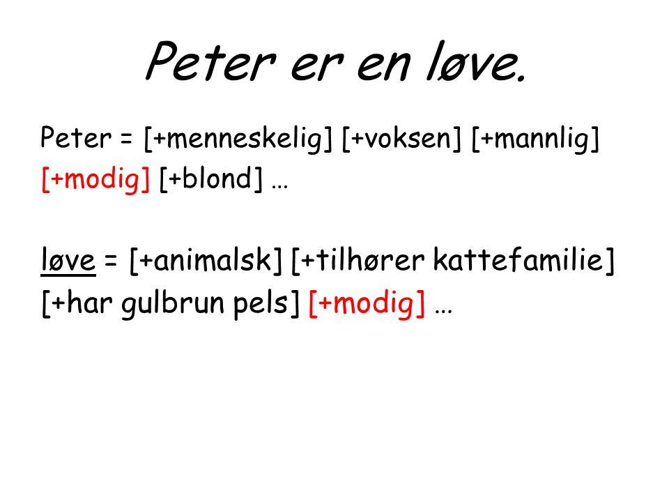 Peter er en løve. løve = [+animalsk] [+tilhører kattefamilie]